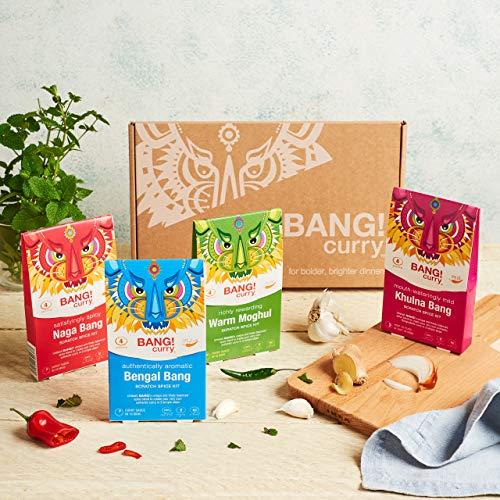 Bang Curry Kits + Rezepte E-Book | Curry-Selection Gewürze 4x24g | Curry Paste | Curry Pulver | Curry Sauce | Vegan Und Keto Freundlich