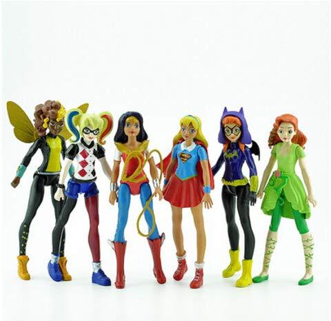 6 piezas DC Super Hero Girls Batgirl Poison Ivy Bumble Bee Harley Quinn Figura de acción Muñeca de juguete DES