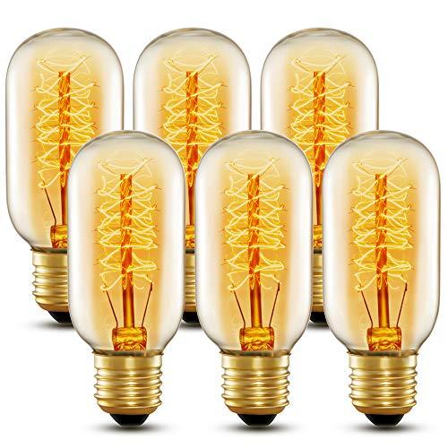 Wedna 40W Edison Vintage lampadina T45 E27 lampada bar stile industriale luce retrò Lampadine - Confezione da 6