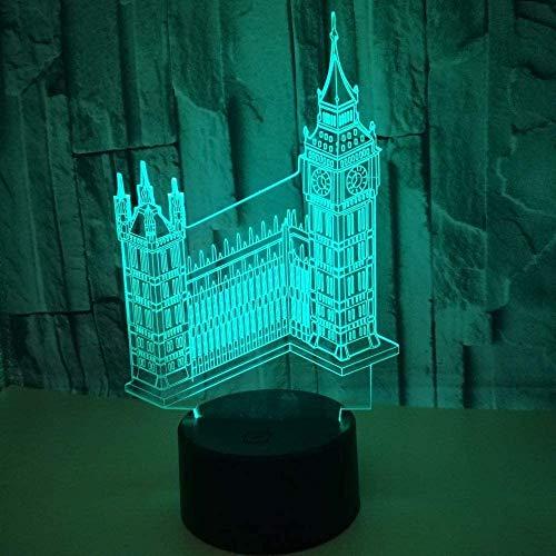 Illusie 3D Nachtlampje Bouwen Grote Ben Led Tafel Bureau Lamp 7 Kleuren Veranderende USB Power Touch Schakelaar Decor Lamp voor Kind Kerstmis Verjaardagscadeaus