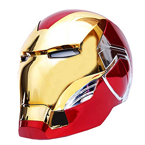 MODRYER Iron Man 1:1 helmet electric Avengers Superhero cosplay wearable mask Halloween Headgear Props Voice greeting Touch control,Gold Iron Man Helmet Mask