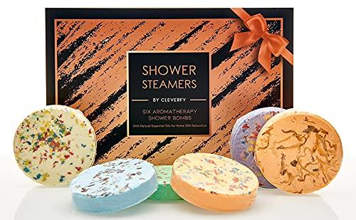 Cleverfy Aromatherapy Shower Steamers - Variety Pack of 6 for Self Care. Black Gold Set: Lavender, Menthol, Bergamot & Mandarin, Pomegranate & Rose, Grapefruit, Peppermint & Lemongrass