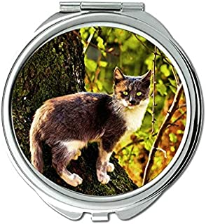 Mirror,Compact Mirror,Animal tree cat autumn mirror for Men/Women,1 X 2X Magnifying