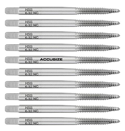 Accusize Industrial Tools 10 Pc 6-32Nc, 2 Flute, H.S.S. Spiral Point Taps, A.N.S.I. Standard, Ground, Spt-6-32x10