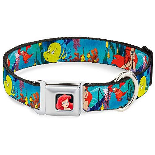 Buckle-Down Seatbelt Buckle Dog Collar - Ariel, Sebastian & Flounder Scene - 1' Wide - Fits 15-26' Neck - Large
