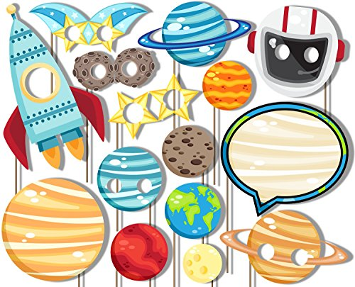 Outer Space Solar System Photo Booth Props Kit - Party Camera Props Fully Assembled by Birthday Galore