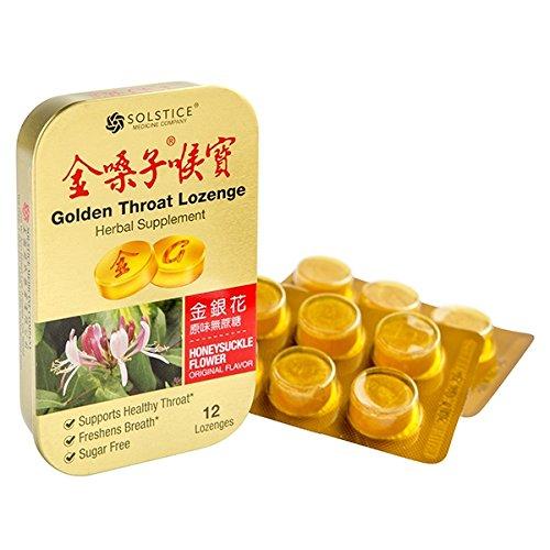 Solstice Medicine Golden Throat Lozenge - Sugar Free (Honeysuckle Flower Original Flavor) - 12 Ct