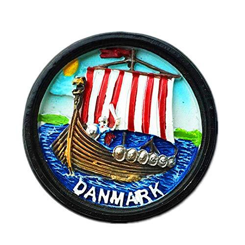 Viking Piratenschiff Dänemark 3D Kühlschrank Kühlschrankmagnet Reisestadt Souvenir Collection Küche Dekoration Whiteboard Aufkleber Harz