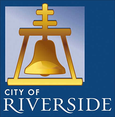 American Vinyl Square City of Riverside Bell Logo Sticker (Decal California ca State)