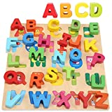 Jacootoys Holz Alphabet Puzzle ABC klobige Puzzle Board Early Learning Lernspielzeug Geschenk für...