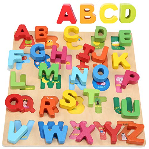Jacootoys Holz Alphabet Puzzle ABC klobige Puzzle Board Early Learning Lernspielzeug Geschenk für Kinder