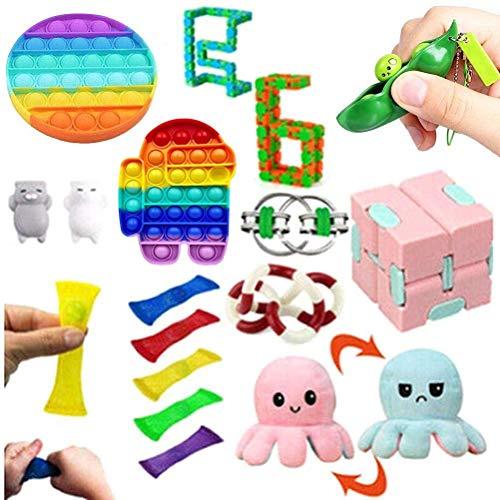 ICRPSTU Conjunto de brinquedos sensoriais, 17 pacotes de brinquedos Fidget com Push Pop It, brinquedos que aliviam o estresse e a ansiedade para crianças, adultos, festas, presentes de aniversário, TDAH, brinquedos de autismo, ansiedade