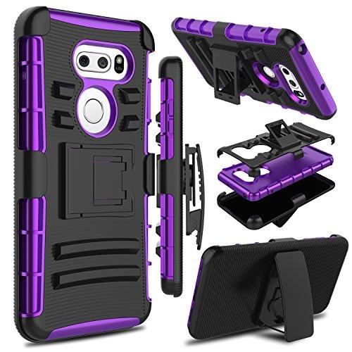 LG V35thinq Fall, LG V30Fall, LG V30s thinq Fall, zenic Robuste Stoßfest bchiea Schutzhülle Hybrid-Schutzhülle mit drehbarem Gürtelclip & Standfunktion für LG V35/LG V30Plus, schwarz/violett
