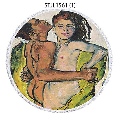 IAMZHL Hombre Mujer niño strandlaken Toalla de Playa de Lujo Toalla de Playa Redonda Toalla de Playa Toalla de Playa Grande Toalla de baño Toalla de Microfibra Toalla-a54-50cm