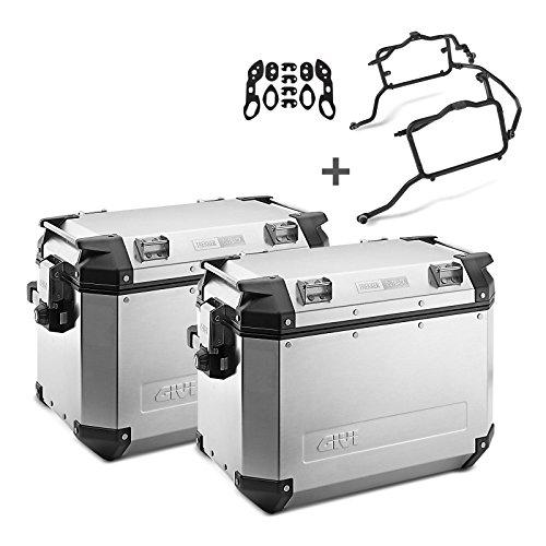 Juego de maletas laterales Kawasaki Versys 650 10-14 Givi Monokey Trekker Outback OBK48A en aluminio plata, kit adaptador incluida