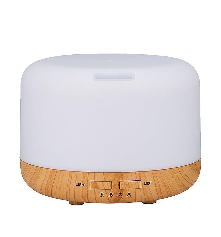 イヤホン素晴らしいブランド名Simple Life アロマディフューザー 超音波式 加湿器 400ml 7色変換LED搭載 木目調 アロマライト (ホワイト)