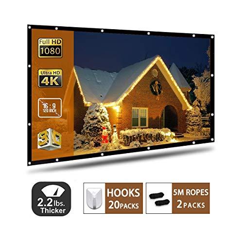 Schermo Proiettore 120 Pollici 16: 9 Schermo di Proiezione Pieghevole,Alta Qualita' HD Portatile per Uso Domestico ed Esterno schermo di proiezion