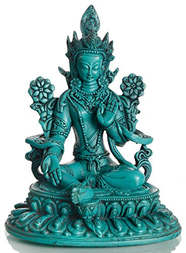 BUDDHAFIGUREN Statue de Bouddha - Vert Tara 24cm - Résine Turquoise 1.8 kg