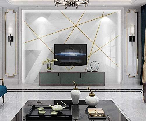 Azulejos geométricos de las líneas doradas Papel pintado simple Papel pintado no tejido Mural de efecto 3D Pared Pintado Papel tapiz 3D Decoración dormitorio Fotomural sala sofá mural-200cm×140cm