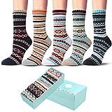 5 Pack Womens Socks Vintage Winter Soft Warm Cold Knit Wool Crew Socks with Beautiful Box