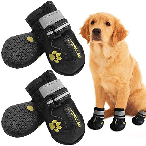 Shaboo Prints Dog Shoes LLNstore Dog Boots Rain Boots for Medium Large Dogs with Adjustable Reflective Straps Anti-Slip Sole Windproof (8, Black)