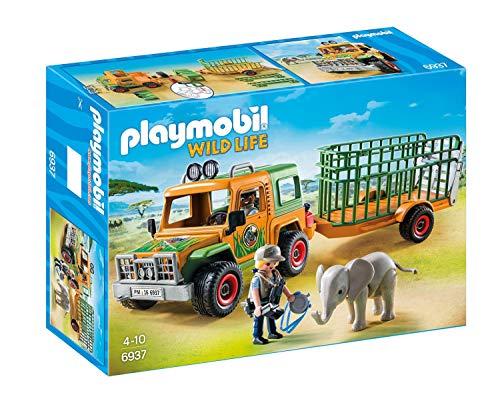 Playmobil- Véhicule avec éléphanteau et soigneurs, 3, Multicolore