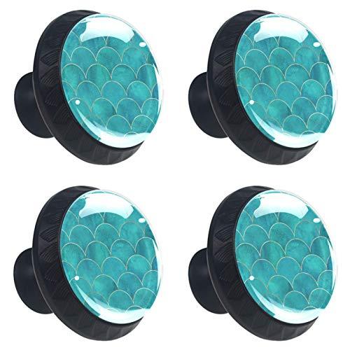 Perilla redonda de metal para armarios o cajones, 4 unidades, diseño de escamas de pez, color turquesa