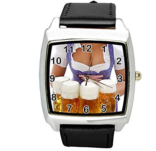 taport® Oktoberfest Bier Quarz quadratisch Armbanduhr Schwarz Echt Leder Band BW Text + gratis Ersatz Batterie + Gratis Geschenkverpackung