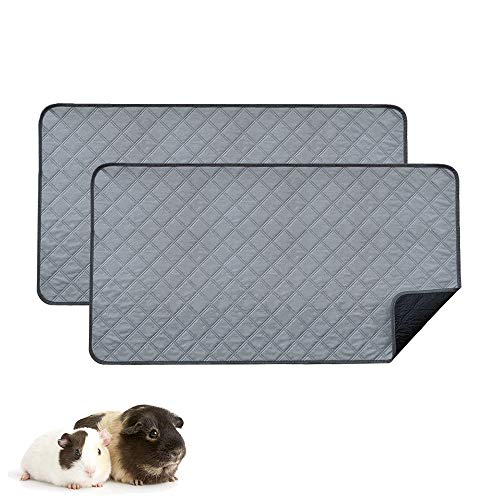 RIOUSSI Guinea Pig Fleece Cage Liners, Highly Absorbent Washable Guinea Pig Bedding for Midwest and C&C Guinea Pig Cages with Leak-Proof Bottom.for Midwest, Light Gray, 2 Pack.