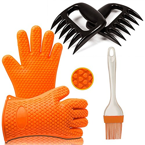 Ozetti Premium BBQ Tool Set Includes 2 Grilling Gloves with Fingers, 2 Bear Claw Meat Shredders and 1 Silicone Brush for Cooking | BPA-Free BBQ Set, One Size Fits All, Dishwasher Safe
