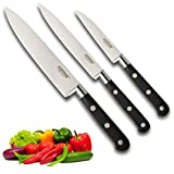 Professional Sabatier Knife Set 3 Piece - Paring, Utility & Chef's Knives. Full