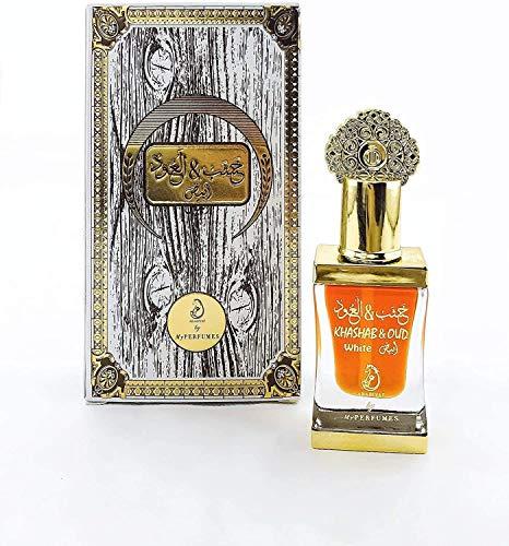 Aceite Perfumado Khashab & Oud Blanco 12ML Oud Arab Attar 100% Óleo Sin Alcohol Almizcle Halal Para Hombres y Mujeres Fragancia de Larga Duración Nota : Rosa, Oud, Jazmín, Cuero, Pachulí, Sándalo