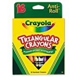 Crayola Products - Crayola - Triangular Crayons, Assorted, 16/Box - Sold As 1 Box - Triangular shape ensures that crayons won't roll away or off surfaces. - Features Anti-Roll benefit. - Helps promote proper writing grip development. - Non-washable formula. -