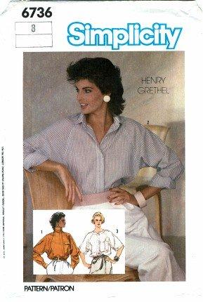 Simplicity 6736 Sewing Pattern Misses HENRY GRETHEL Raglan Sleeve Shirt Size 8 - Bust 31 1/2