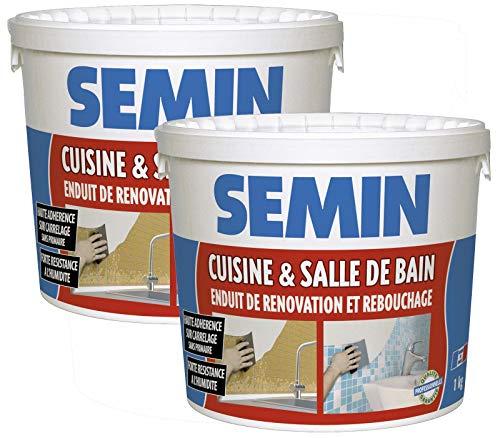 Semin A04755 Enduit de Rebouchage et Rénovation Spécial Cuisine et Salle de Bain, Adapté aux Pièces Humides, Seau de 1 kg (Lot de 2)