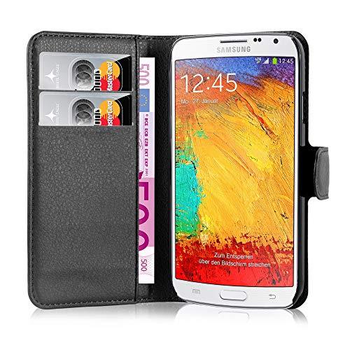 Cadorabo Hülle für Samsung Galaxy Note 3 NEO in Phantom SCHWARZ - Handyhülle mit Magnetverschluss, Standfunktion & Kartenfach - Hülle Cover Schutzhülle Etui Tasche Book Klapp Style
