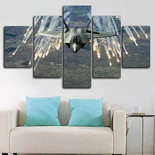 UOBSLBI Quadro Composto da 5 Pezzi Aerei Militari F-22 Raptor Artwork HD Immagini Dipinti su Tela da Muro 150 * 80Cm