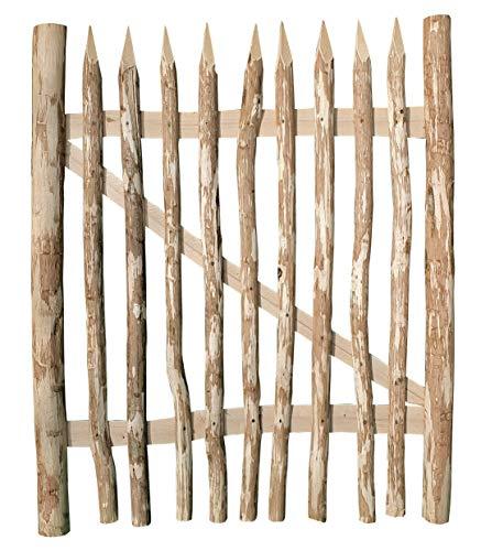 Nature LOUNGE Zauntor Haselnuss 100 x 120 cm - hochwertiges Gartentor für Staketenzäune - stabiles und witterungsbeständiges Holztor in 7 Größen
