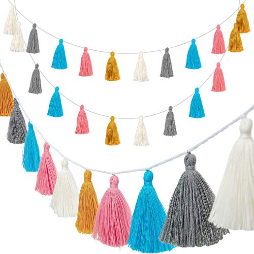 4 Pieces Easter Tassel Garland Colorful Tassel Banner Decorative Wall Hanging for Wedding, Pre-Assembled (Yellow, Gray, Blue, Pink, White,3.1 Inch)