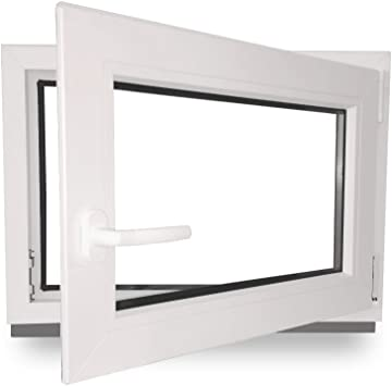 Fenster Kunststoff 3-fach-Verglasung 60mm Profil wei/ß Panorama24 Kellerfenster BxH: 110x60 cm DIN rechts LAGERWARE