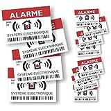 """Pegatinas disuasivas con el texto """"Alarme – Surveillance Electronique"""", juego de 12 unidades, 4 grandes de 14,8 x 10,5 cm y 8 pequeñas de 7,4 x 5,2 cm"""