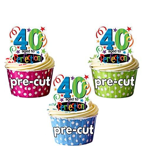 AK Giftshop PRE-CUT 40ste verjaardag leeftijd tot perfectie - eetbare cupcake toppers/taart decoraties (Pak van 12)