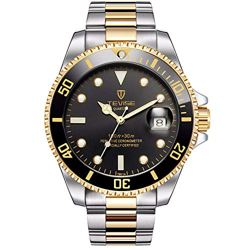 XLORDX Herren Armbanduhren Business Casual Quartz Analog Gold Silber Edelstahl mit Datum Schwarz Zifferblatt