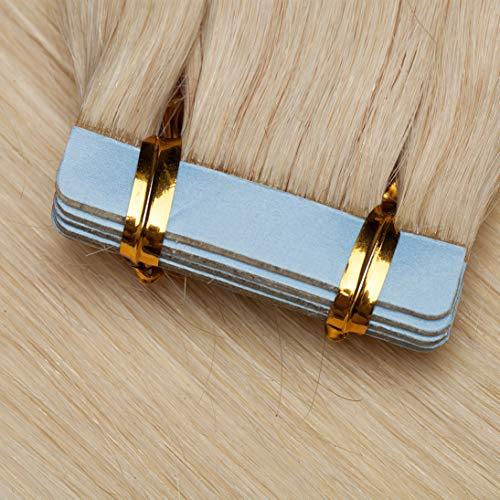 TESS Tape Extensions Echthaar Platinblond #70 Klebeband Haarteile Tape in Haarverlängerung Remy Human Hair Glatt 10 Stück 16