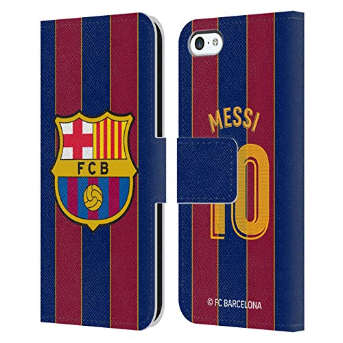 Head Case Designs Officially Licensed FC Barcelona Lionel Messi 2020/21 Players Home Kit Group 1 Leather Book Wallet Case Cover Compatible with Apple iPhone 5c