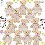 12 Pieces Stuffed Animals Plush Bears, Mini Couple Bear with Floral Burlap Clothes Little Bear Plush Stuffed Animal Toys for Birthday Wedding Decorations Christmas Party Favors Supplies