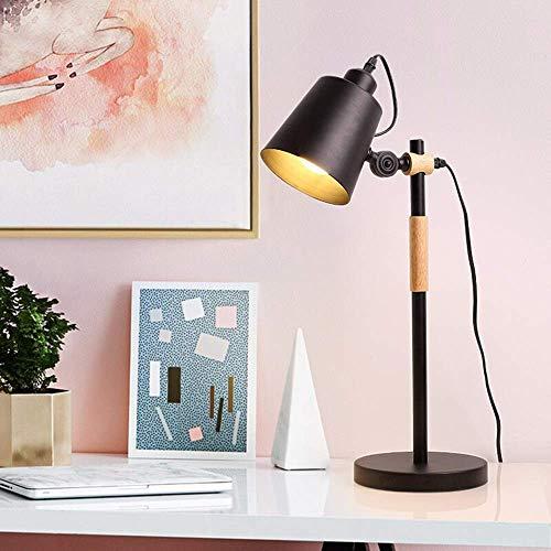 FHUA Lámpara Escritorio Ángulo Ajustable lámpara de Mesa Simple lámpara de Mesa LED lámpara cálida decoración Moderna Dormitorio Estudio Creativo 18 * 18 * 55 cm (Color:Amarillo) (Color : Black)