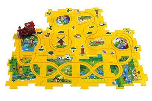 Jamara 460303 460303-Puzzle Dynamic Zoo-Schienennetz robustem Kunststoff - puzzeln und auf Knopfdruck fährt der Zug die gebaute Eisenbahnstrecke selbstständig ab
