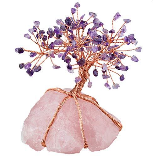 Nupuyai - Árbol de la vida - Figuras de árbol de cristal para decoración de casa, alambre de acero inoxidable, árbol para la curación de Fengshui Reiki, Base de amatista y cuarzo rosa, Lila y rosa.