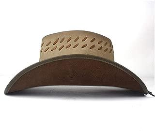 Lei Zhang 100% Leather Women Men Black Western Cowboy Hat With Roll Up Brim Punk Belt Jazz Sombrero Cap Dad Hat Size 58-59CM